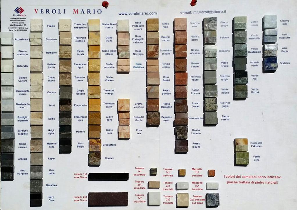 Campionari campionario tessere per mosaico in pietra